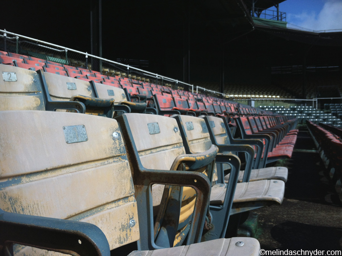 seats at Rickwood Field, America's oldest ballpark, in Birmingham, Alabama
