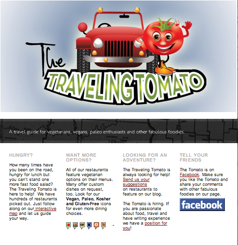 traveling tomato website is a traveling restaurant guide