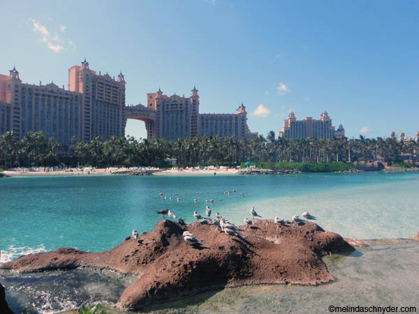 The classic view of Atlantis on Nassau, Paradise Island in the Bahamas.