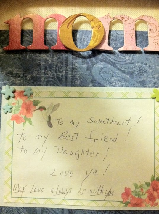 A note my mom had included in a package to me one year. So glad I kept it!