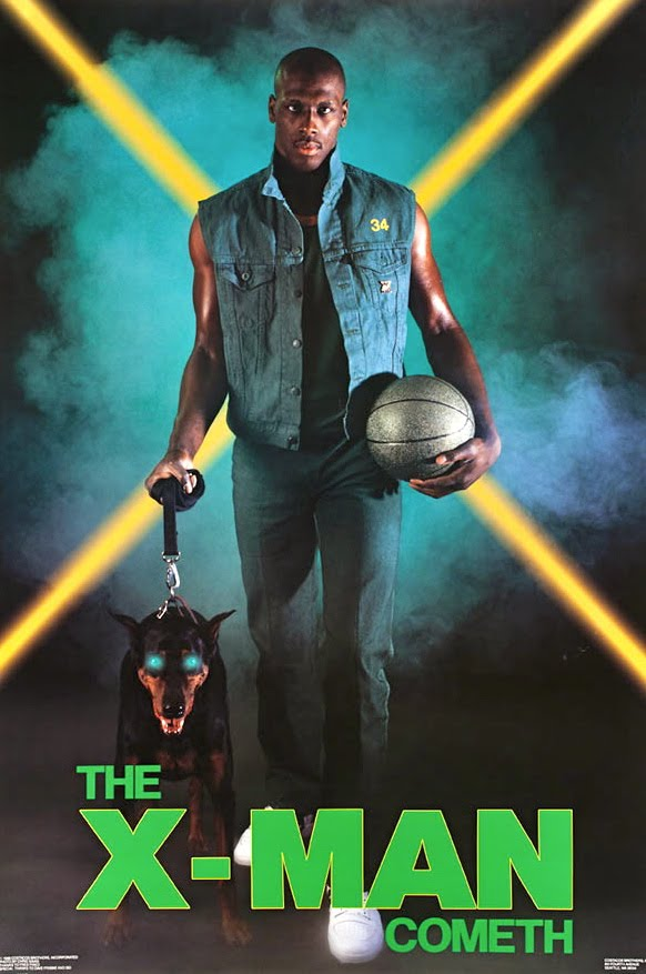 Here's Xavier McDaniel in a Seattle promotional poster. The dog was not with him at the interview :)