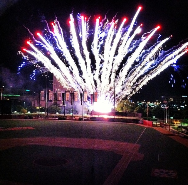 Fireworks over Lawrence Dumont Stadium after a Wingnuts game in Wichita, Kan. (MeLinda Schnyder Instagram photo)