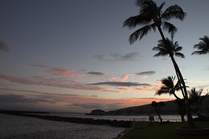 Sunset from our condo in Maalea on the Hawaiian island of Maui. Photo by MeLinda.
