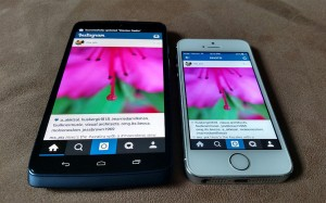 Motorola Droid Turbo from Verizon showing my Instagram photo, next to my iPhone 5s. #vzreview